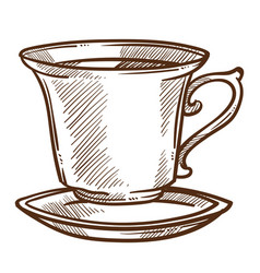 Coffee or tea cup on saucer isolated sketch hot vector