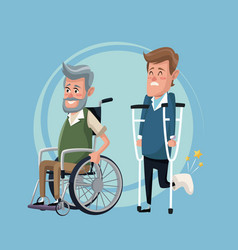 Color background set elderly man in wheelchair and vector