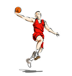 Color line sketch basketball player vector