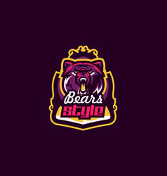 colorful emblem an aggressive bear sports logo vector image