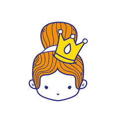 Colorful girl head with crown and bun hair vector