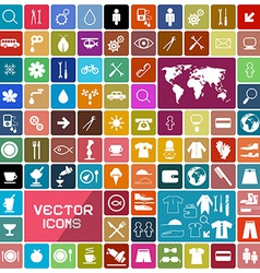 Colorful Rounded Squares Flat Icons Set vector image