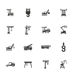 Crane and lifing machines icon set vector