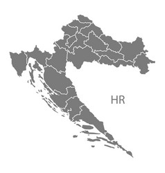 Croatia counties map grey vector
