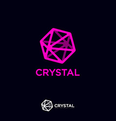 crystal logo six pointed blue letters vector image