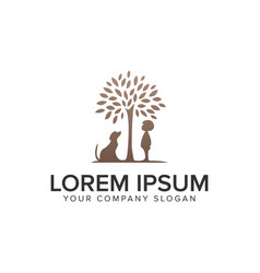 dog and child tree logo design concept template vector image