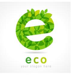 e eco green logo vector image