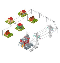 electricity power station isometric view vector image