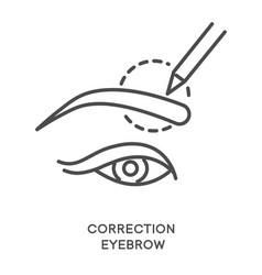 eyebrow correction with brow line shaping vector image
