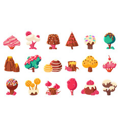 Fantasy nature landscape elements sweet candy vector