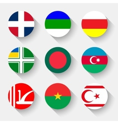 Flags world round buttons vector