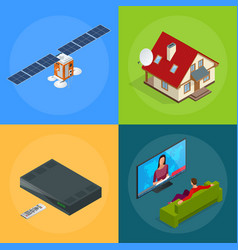 four isometric web concepts a house with an vector image