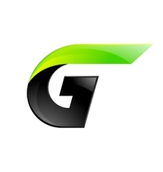 G letter black and green logo design Fast speed vector image