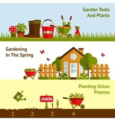 Gardening Banners Set vector image