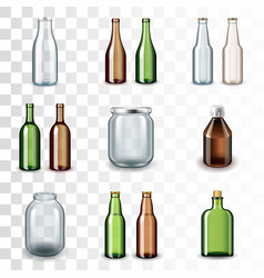 Glass bottles icons set vector