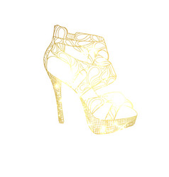 Golden high heel shoe vector