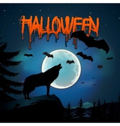 Halloween background with the wolf howls of moon vector image