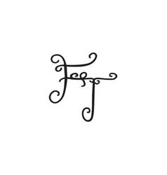 Handwritten monogram ft icon vector