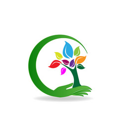 Health nature hand care tree logo vector