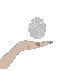 human hand holding a brain vector image vector image