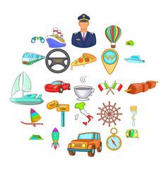international icons set cartoon style vector image