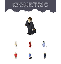 isometric people set of businesswoman female vector image