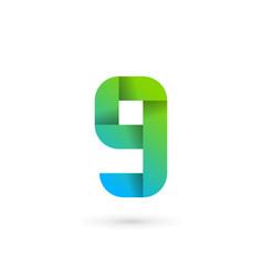 letter g number 9 ribbon logo icon design vector image