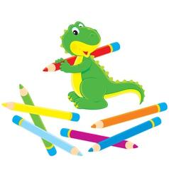 Little dinosaur and pencils vector