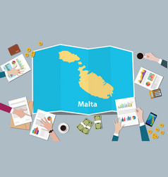 malta economy country growth nation team discuss vector image