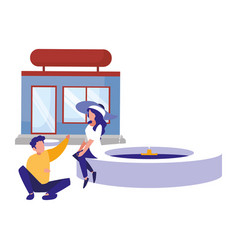 man and woman sitting on fountain near store vector image