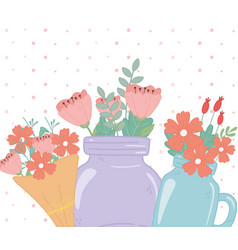 mason jars and bouquet flowers floral foliage vector image