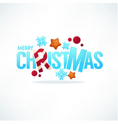 merry christmas greeting lettering made from ice vector image