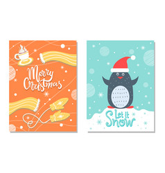 merry christmas winter postcard warm cloth penguin vector image