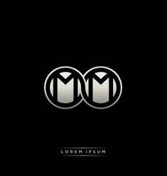 Mm initial letter linked circle capital monogram vector