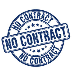 no contract blue grunge round vintage rubber stamp vector image