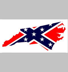 North carolina map and confederate flag vector