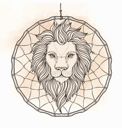 Ornate lion head over dream catcher african vector