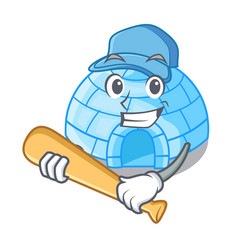 Playing baseball character cartoon ice house in vector