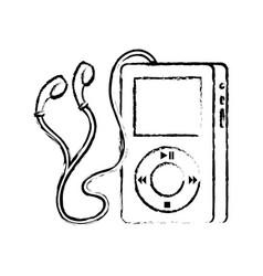 Portable music device player earphones gadget vector