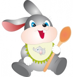 rabbit with spoon vector image