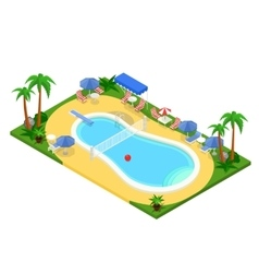Realistic isometric outdoor swimming pool vector
