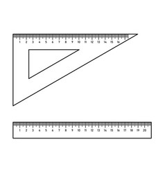 Ruler and triangle setsquare vector