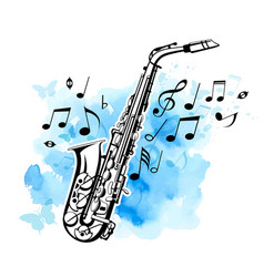 Saxophone on a blue watercolor background vector