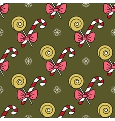 Seamless pattern with Christmas candy canes vector