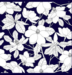 seamless pattern with magnolia flowers and leaves vector image