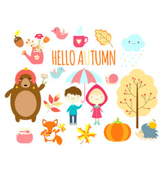 Set of cute forest animals and children vector