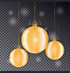 set of gold christmas balls with line bow holiday vector image