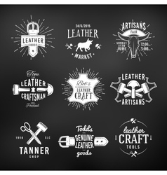 Set of leather craft logo designs retro genuine vector