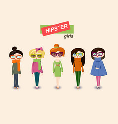 set of teenage vinter girls vector image