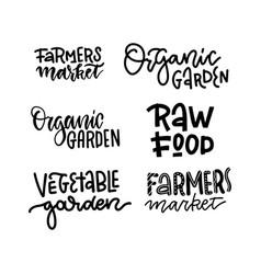 set organic food labels farmers market vector image